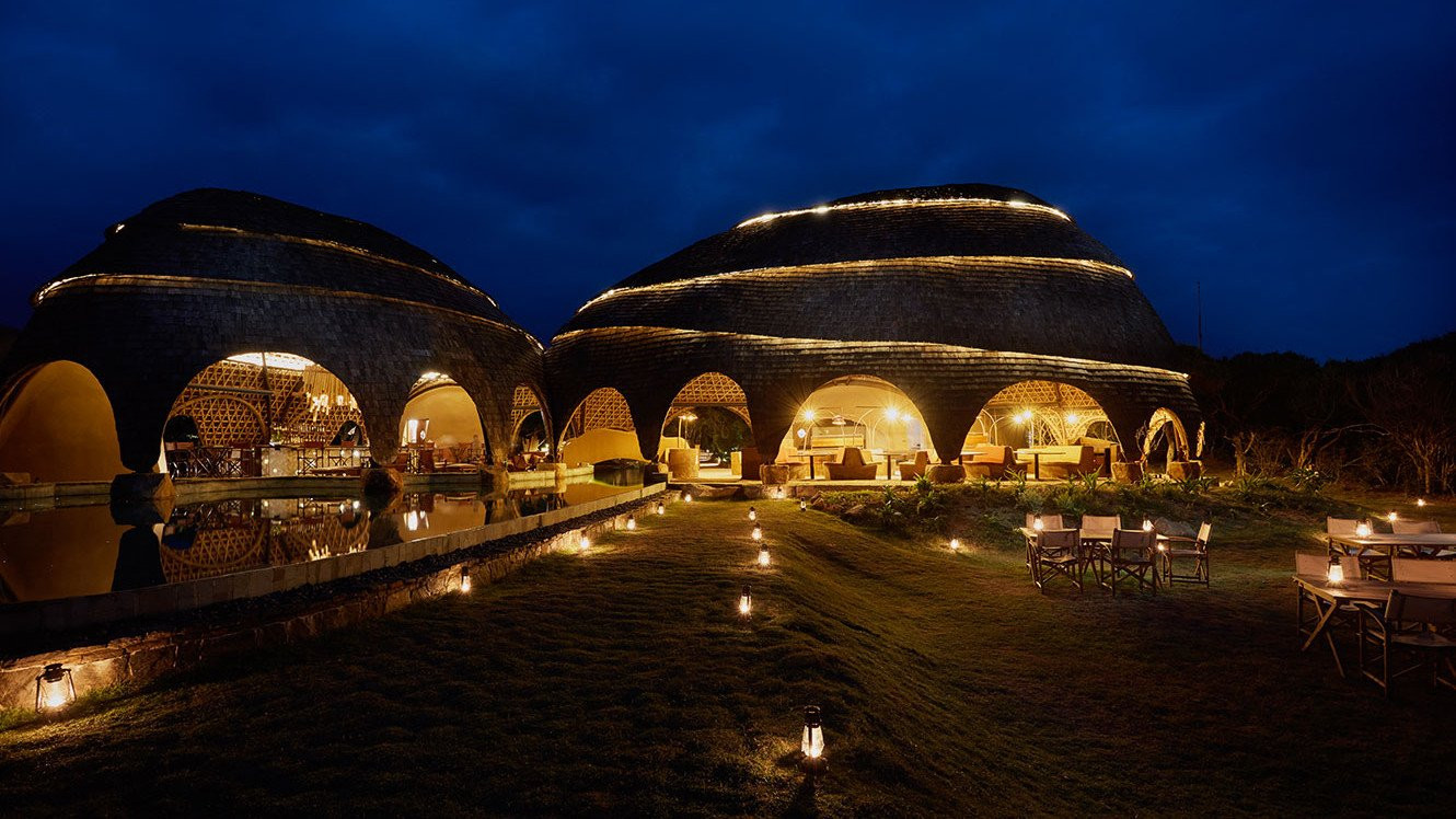 Wild Coast Lodge at night