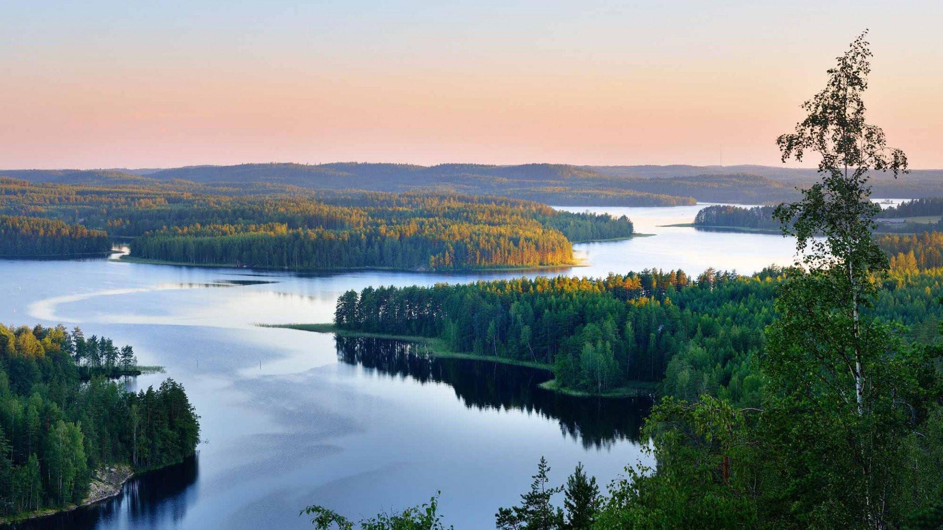 Saimaa lake at sunset, Finland